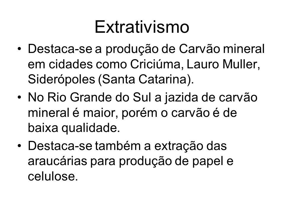 Extrativismo Destaca-se a produção de Carvão mineral em cidades como Criciúma, Lauro Muller, Siderópoles (Santa Catarina).