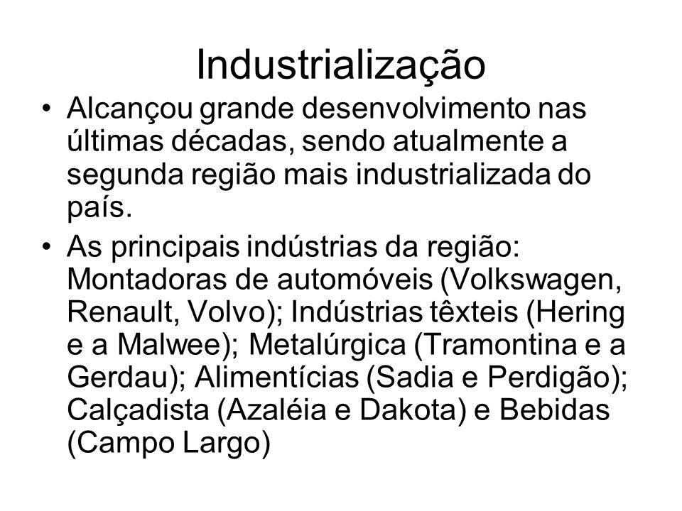 Industrialização Alcançou grande desenvolvimento nas últimas décadas, sendo atualmente a segunda região mais industrializada do país.