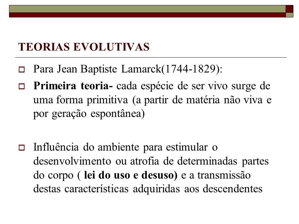 TEORIAS EVOLUTIVAS Para Jean Baptiste Lamarck(1744-1829):