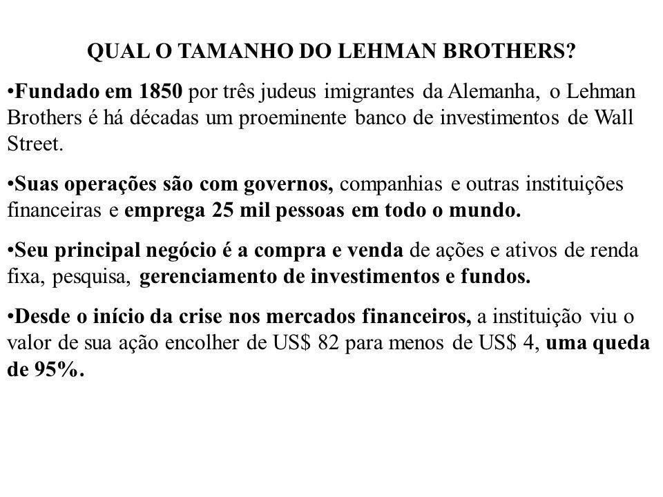 QUAL O TAMANHO DO LEHMAN BROTHERS