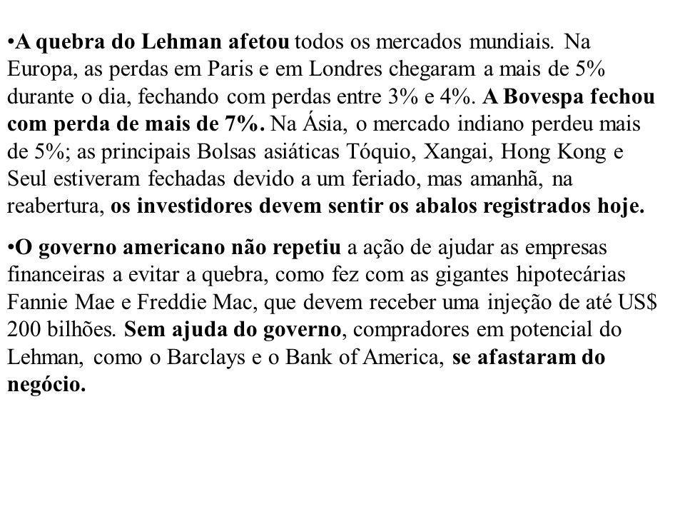 A quebra do Lehman afetou todos os mercados mundiais