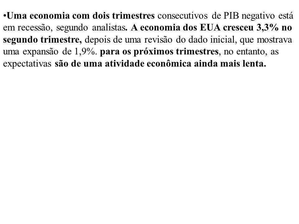 Uma economia com dois trimestres consecutivos de PIB negativo está em recessão, segundo analistas.