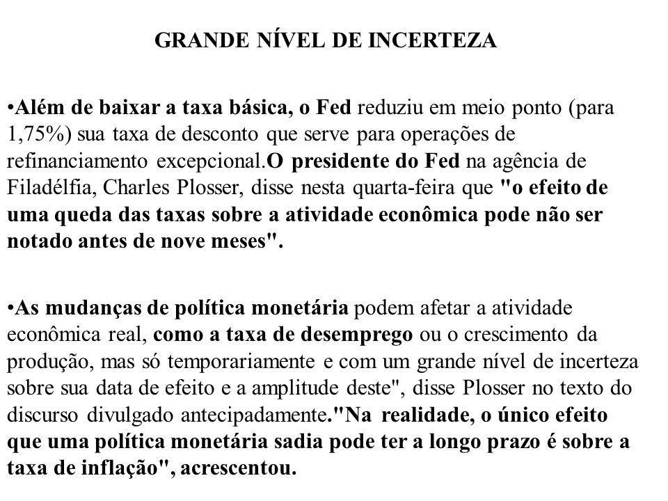 GRANDE NÍVEL DE INCERTEZA