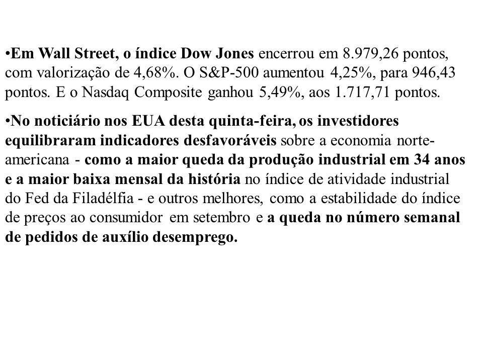 Em Wall Street, o índice Dow Jones encerrou em 8