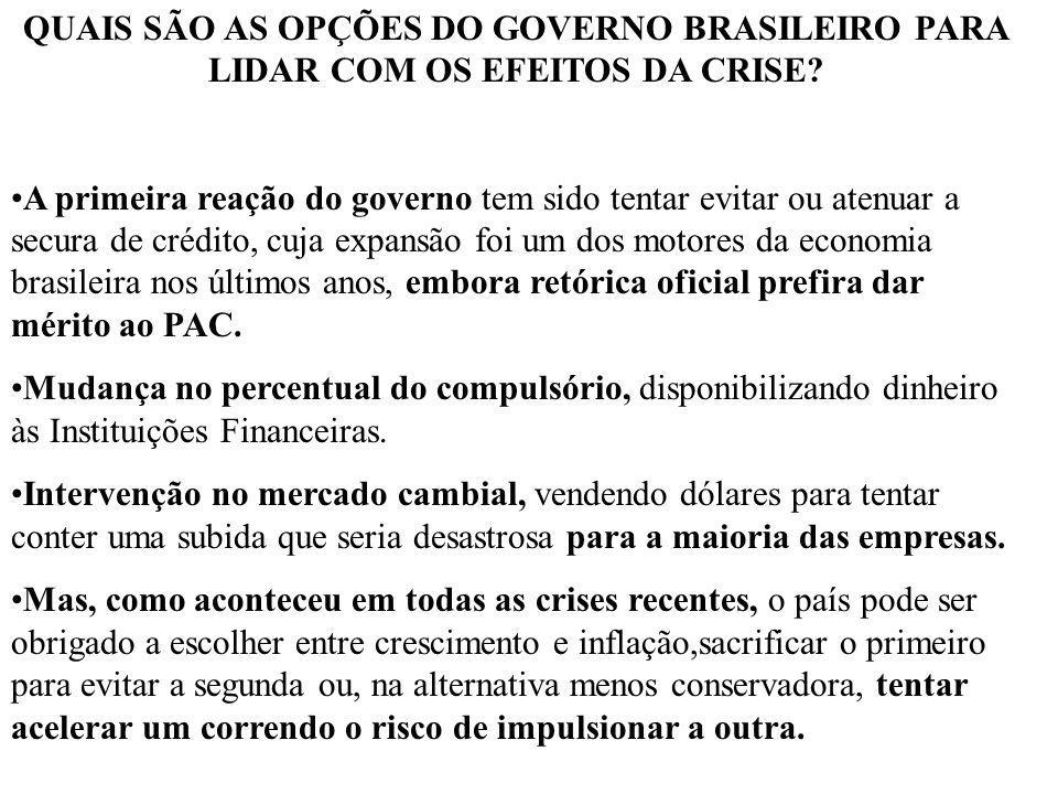 QUAIS SÃO AS OPÇÕES DO GOVERNO BRASILEIRO PARA LIDAR COM OS EFEITOS DA CRISE