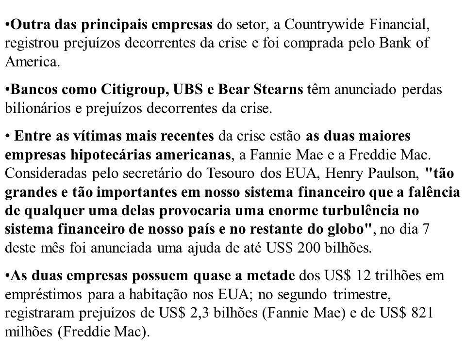 Outra das principais empresas do setor, a Countrywide Financial, registrou prejuízos decorrentes da crise e foi comprada pelo Bank of America.