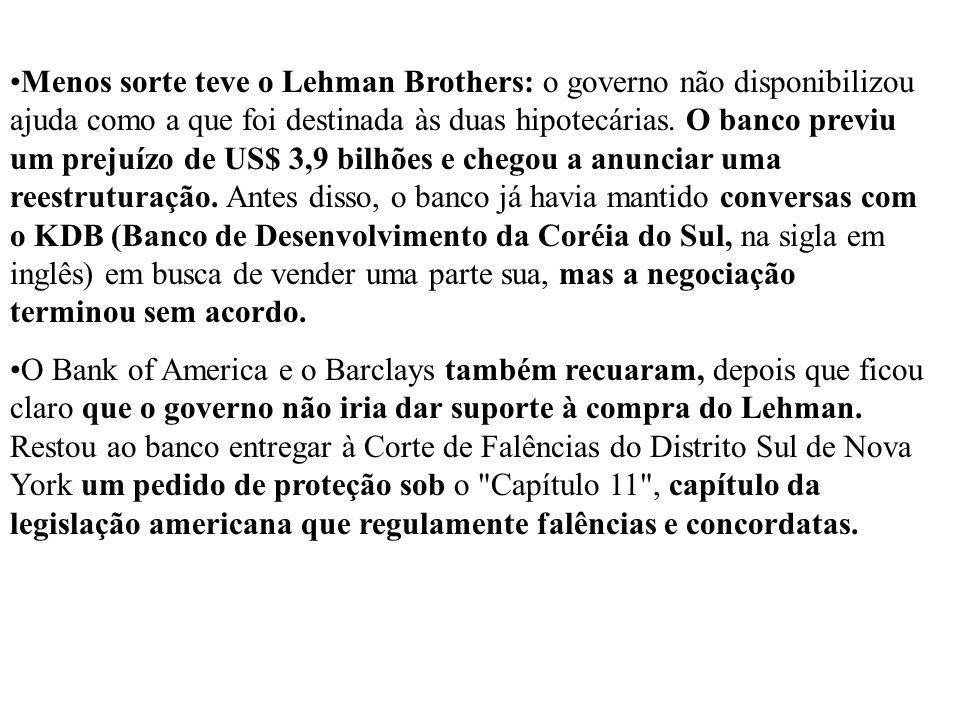 Menos sorte teve o Lehman Brothers: o governo não disponibilizou ajuda como a que foi destinada às duas hipotecárias. O banco previu um prejuízo de US$ 3,9 bilhões e chegou a anunciar uma reestruturação. Antes disso, o banco já havia mantido conversas com o KDB (Banco de Desenvolvimento da Coréia do Sul, na sigla em inglês) em busca de vender uma parte sua, mas a negociação terminou sem acordo.