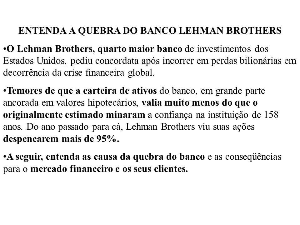 ENTENDA A QUEBRA DO BANCO LEHMAN BROTHERS
