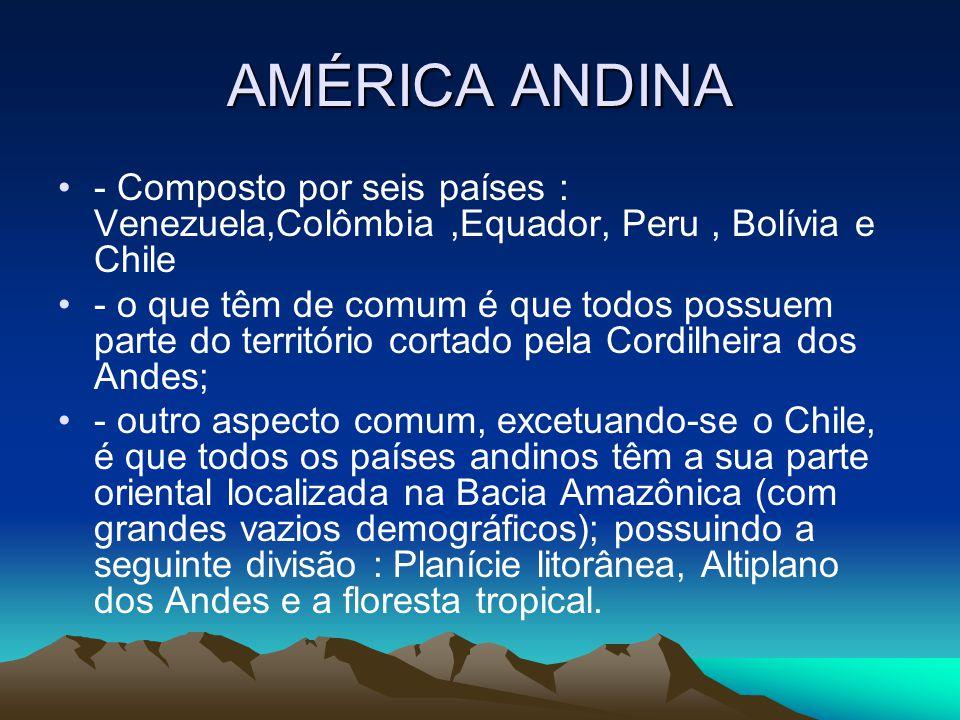 AMÉRICA ANDINA - Composto por seis países : Venezuela,Colômbia ,Equador, Peru , Bolívia e Chile.