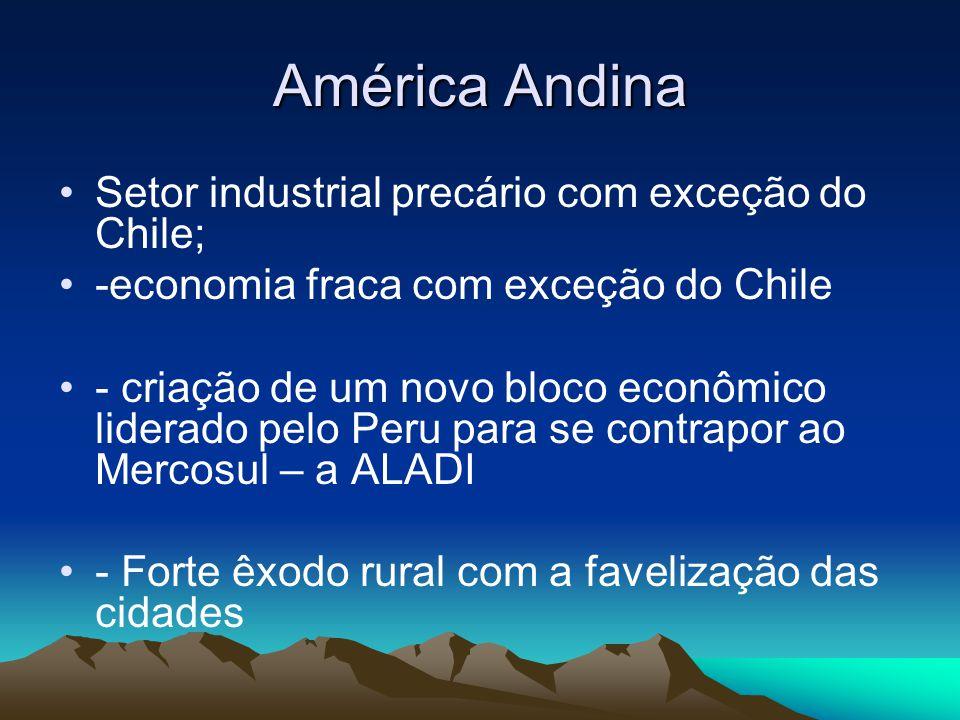 América Andina Setor industrial precário com exceção do Chile;