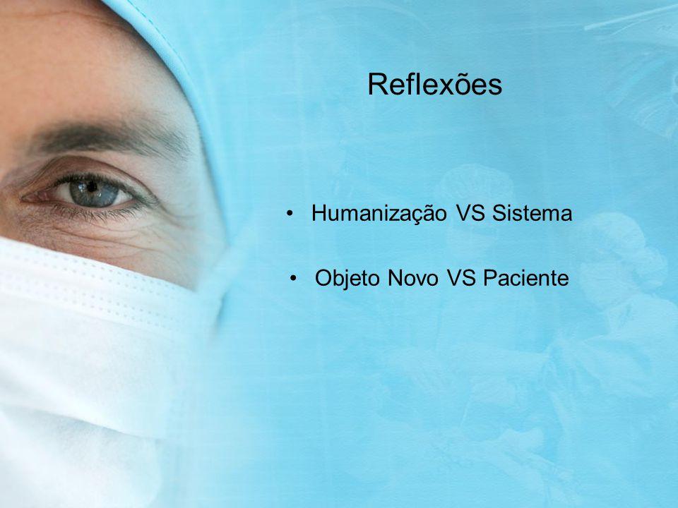 Reflexões Humanização VS Sistema Objeto Novo VS Paciente