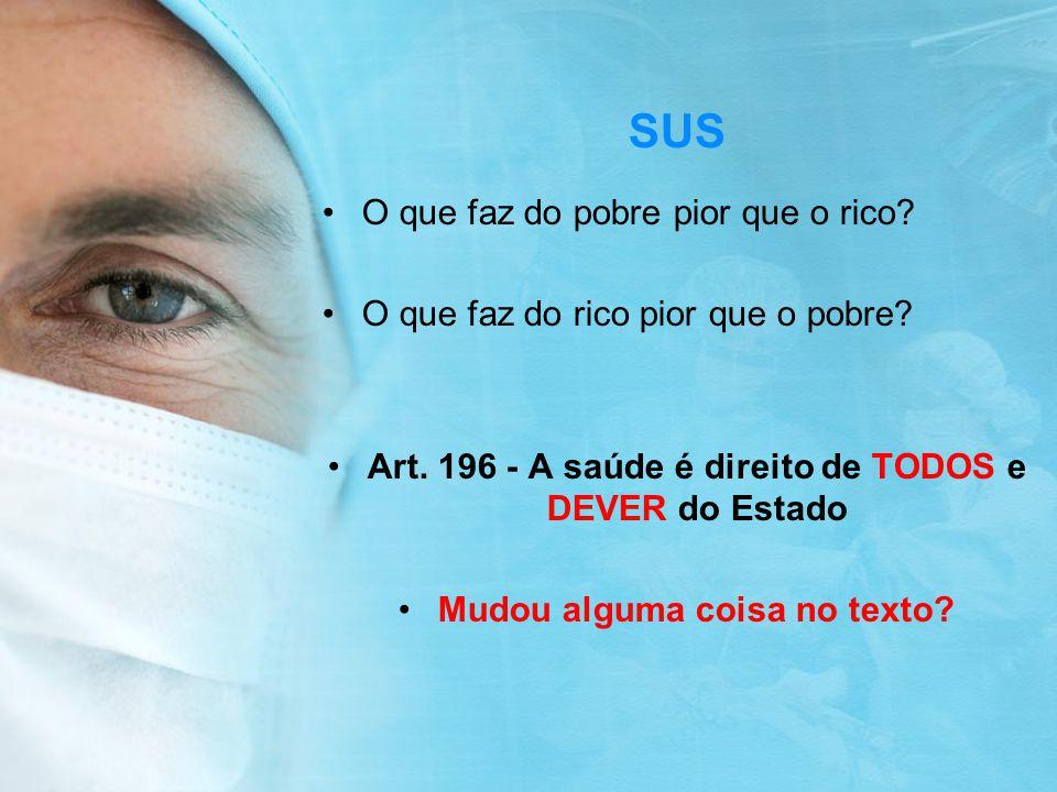 Art. 196 - A saúde é direito de TODOS e DEVER do Estado