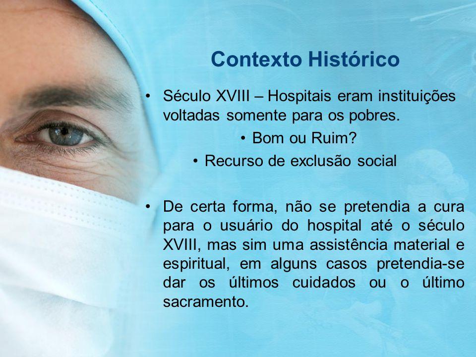Contexto Histórico Século XVIII – Hospitais eram instituições voltadas somente para os pobres. Bom ou Ruim