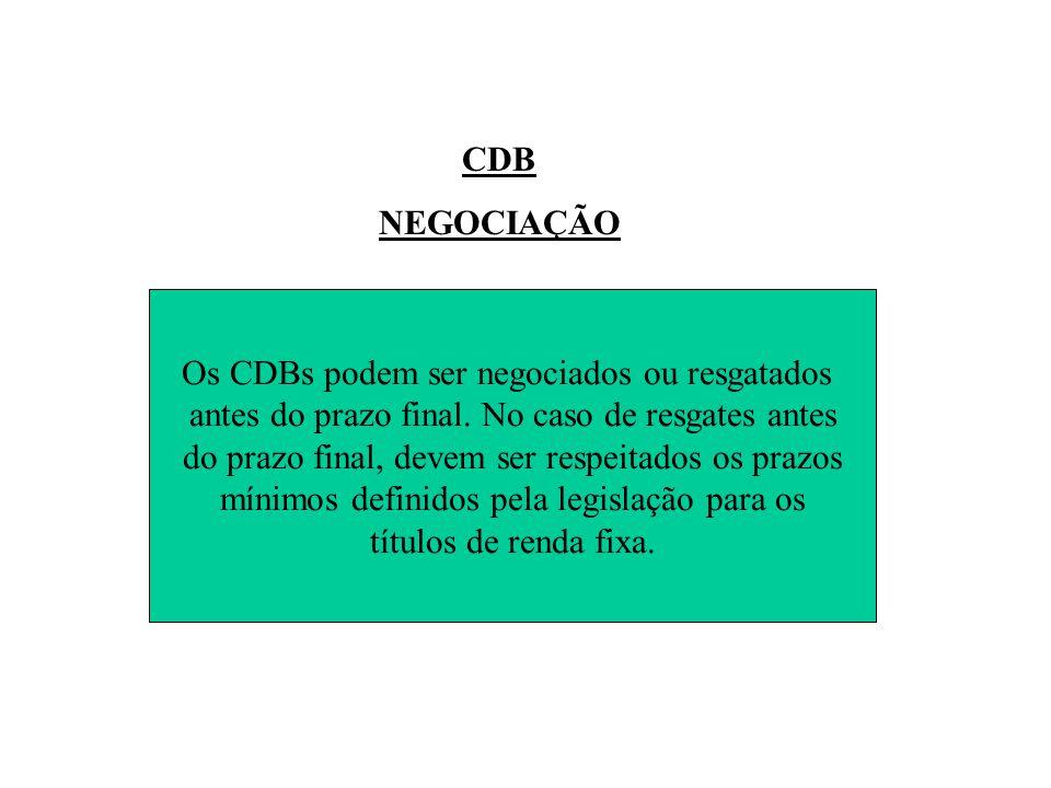 Os CDBs podem ser negociados ou resgatados