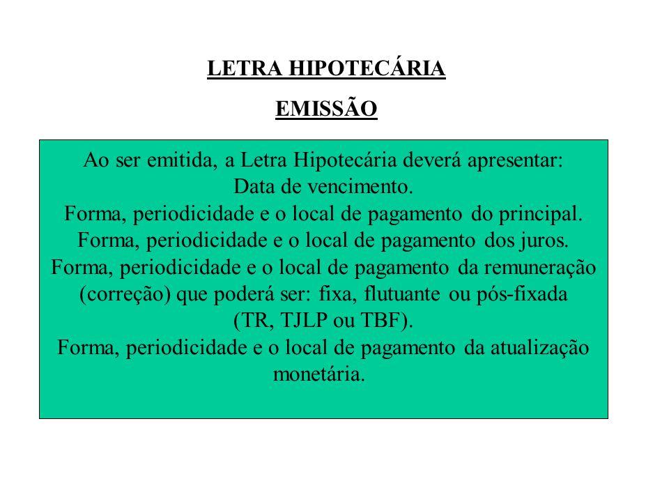 LETRA HIPOTECÁRIA EMISSÃO