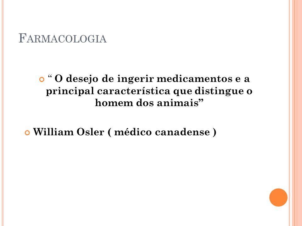 Farmacologia O desejo de ingerir medicamentos e a principal característica que distingue o homem dos animais