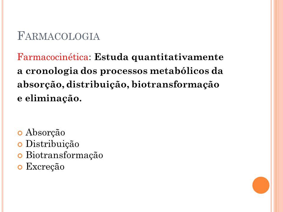 Farmacologia Farmacocinética: Estuda quantitativamente