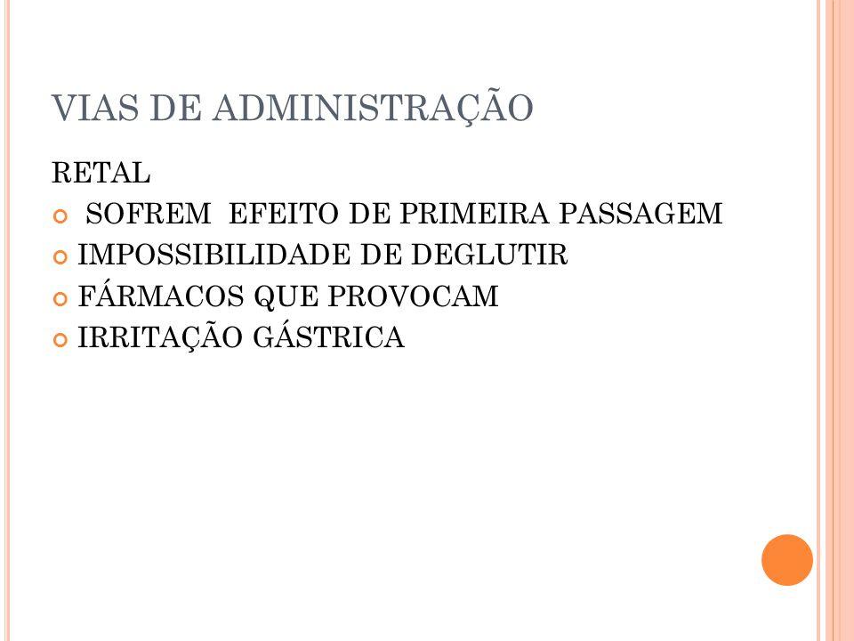 VIAS DE ADMINISTRAÇÃO RETAL SOFREM EFEITO DE PRIMEIRA PASSAGEM