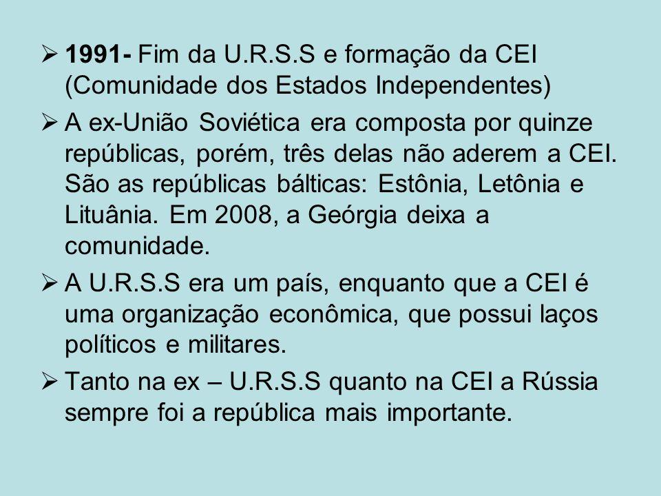 1991- Fim da U.R.S.S e formação da CEI (Comunidade dos Estados Independentes)