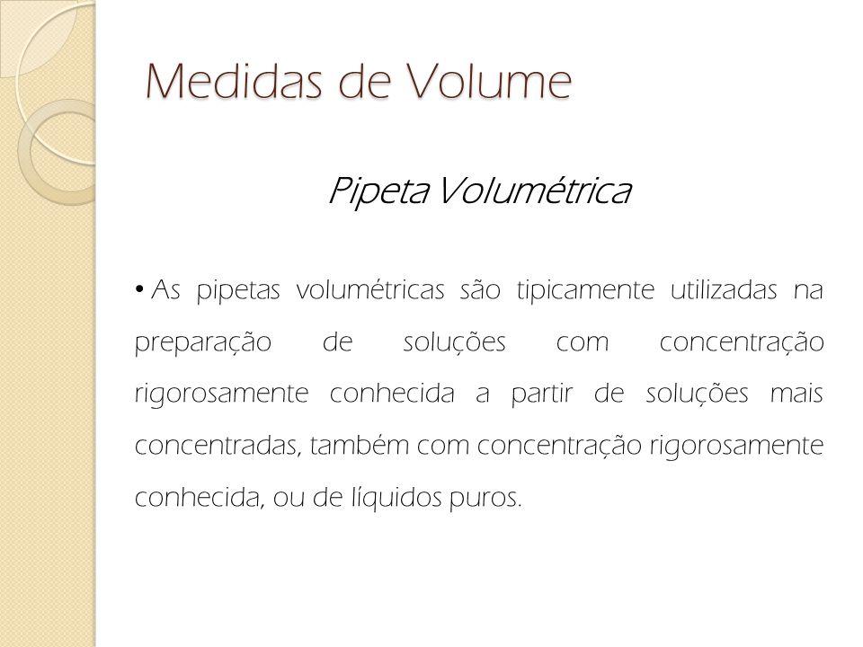Medidas de Volume Pipeta Volumétrica