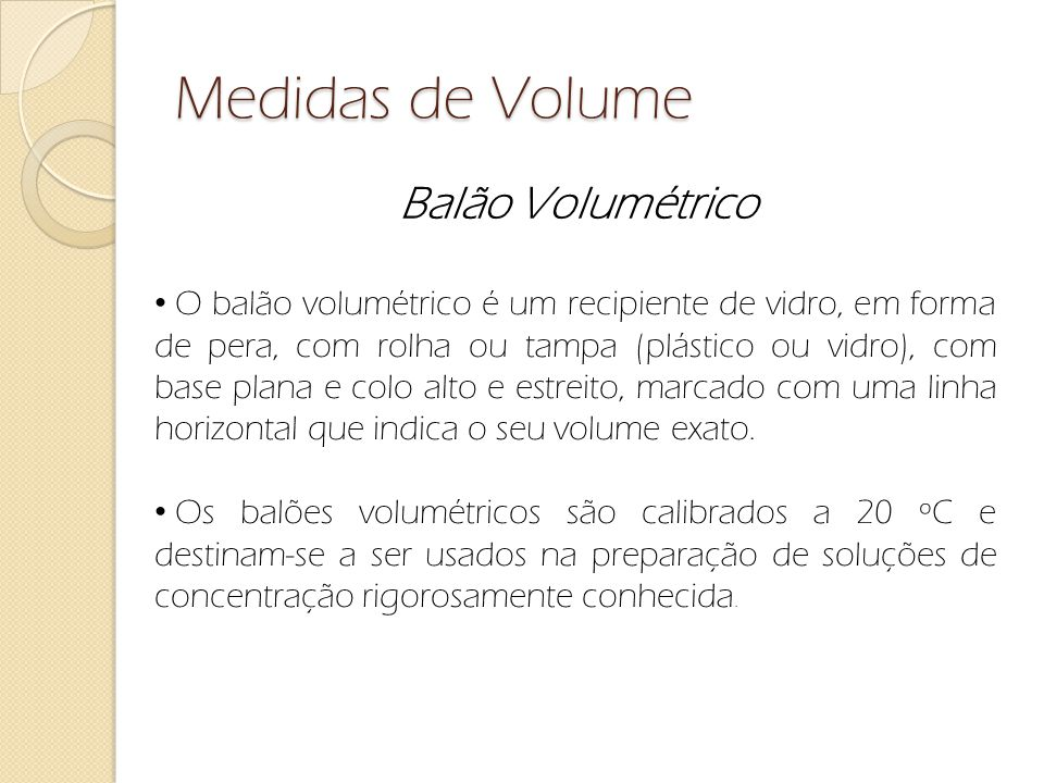 Medidas de Volume Balão Volumétrico