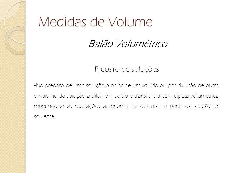 Medidas de Volume Balão Volumétrico Preparo de soluções