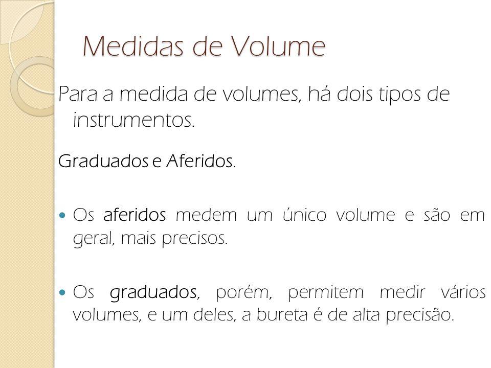 Medidas de Volume Para a medida de volumes, há dois tipos de instrumentos. Graduados e Aferidos.