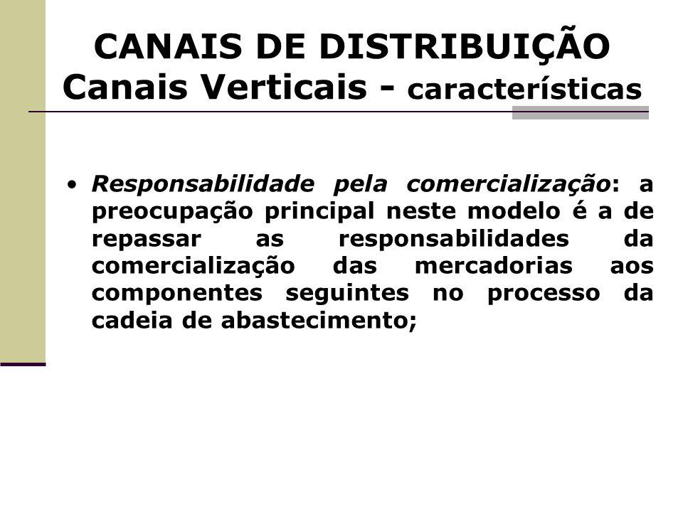 CANAIS DE DISTRIBUIÇÃO Canais Verticais - características