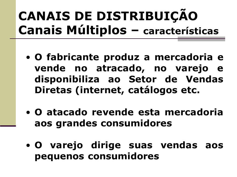 CANAIS DE DISTRIBUIÇÃO Canais Múltiplos – características