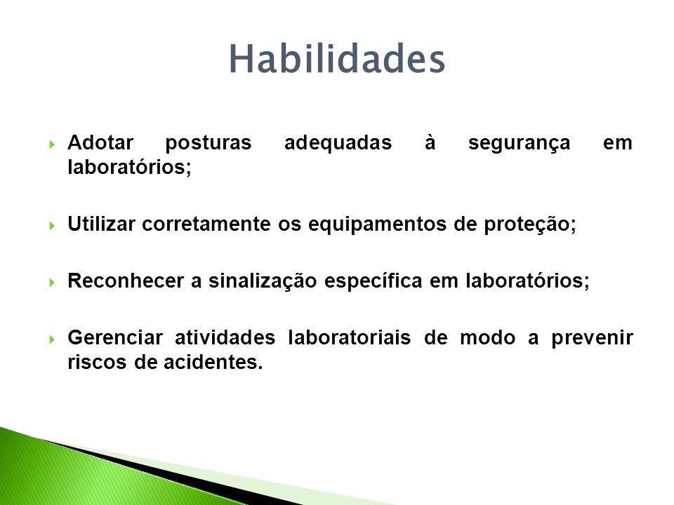 Habilidades Adotar posturas adequadas à segurança em laboratórios;