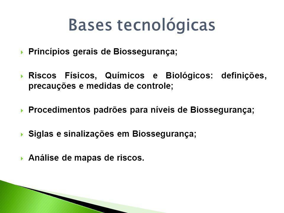 Bases tecnológicas Princípios gerais de Biossegurança;