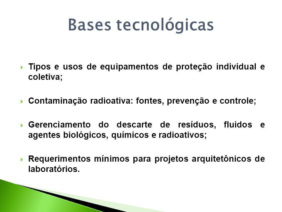 Bases tecnológicas Tipos e usos de equipamentos de proteção individual e coletiva; Contaminação radioativa: fontes, prevenção e controle;
