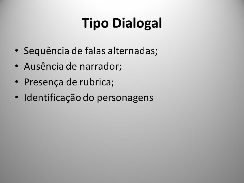 Tipo Dialogal Sequência de falas alternadas; Ausência de narrador;