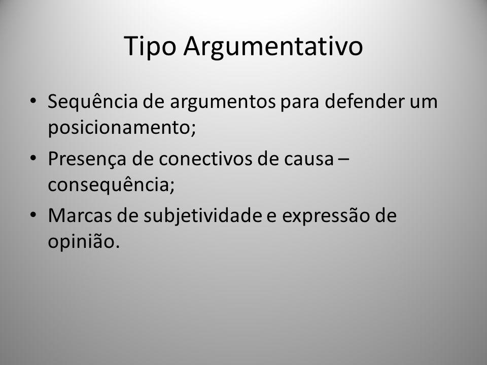 Tipo Argumentativo Sequência de argumentos para defender um posicionamento; Presença de conectivos de causa – consequência;
