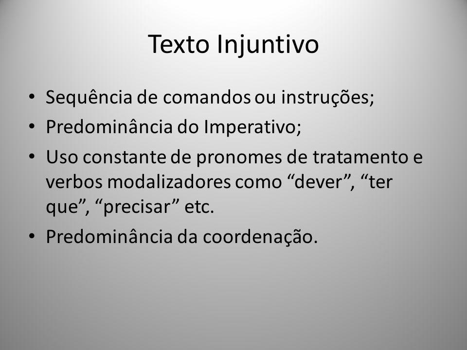 Texto Injuntivo Sequência de comandos ou instruções;