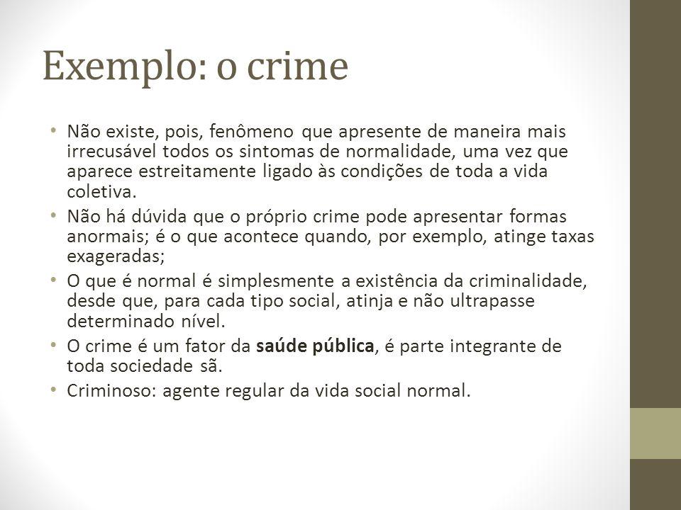 Exemplo: o crime