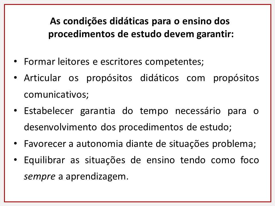 As condições didáticas para o ensino dos