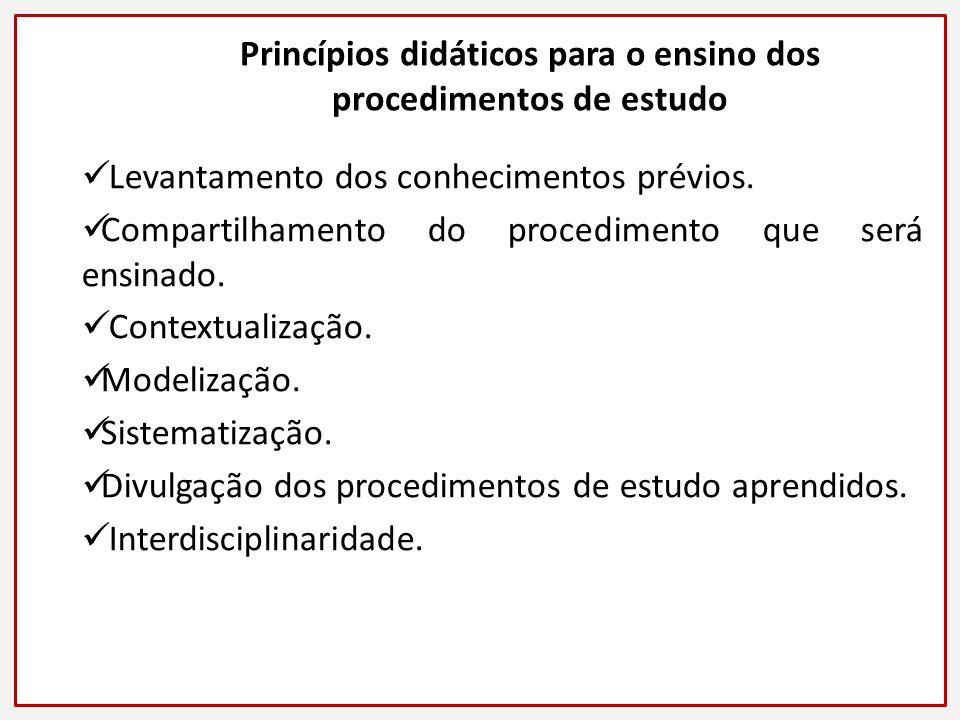 Princípios didáticos para o ensino dos procedimentos de estudo