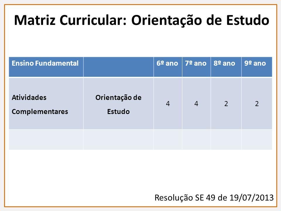 Matriz Curricular: Orientação de Estudo