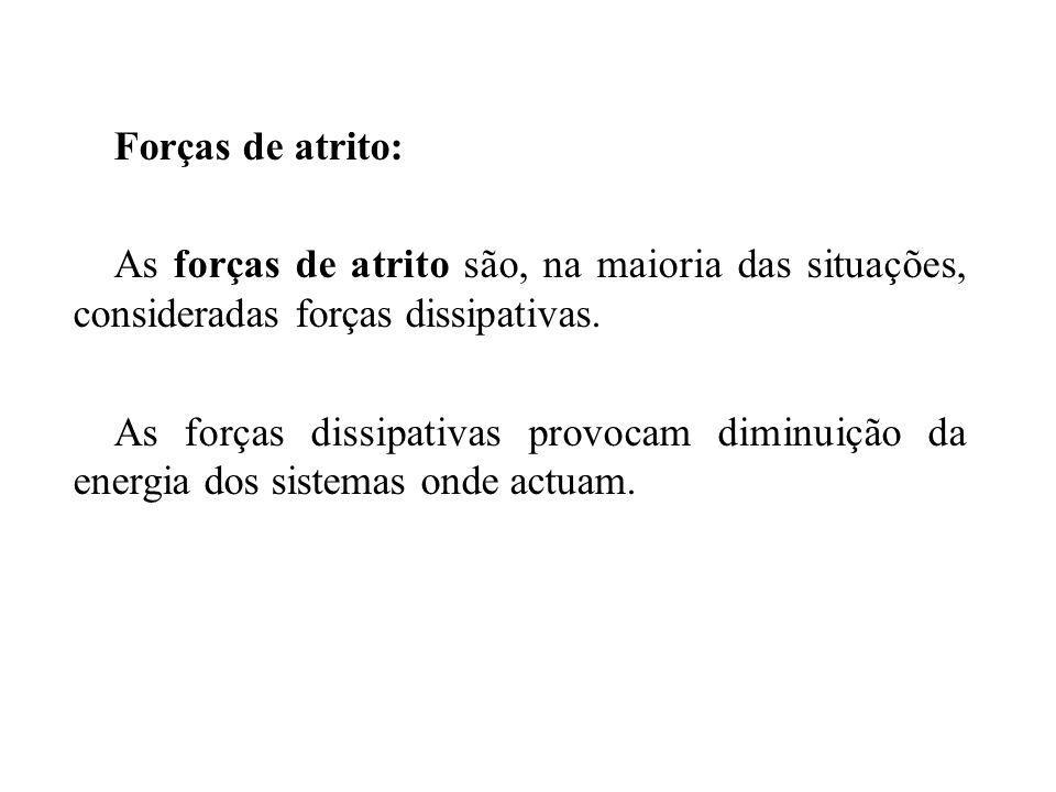 Forças de atrito: As forças de atrito são, na maioria das situações, consideradas forças dissipativas.