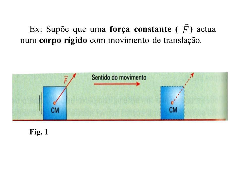 Ex: Supõe que uma força constante ( ) actua num corpo rígido com movimento de translação.