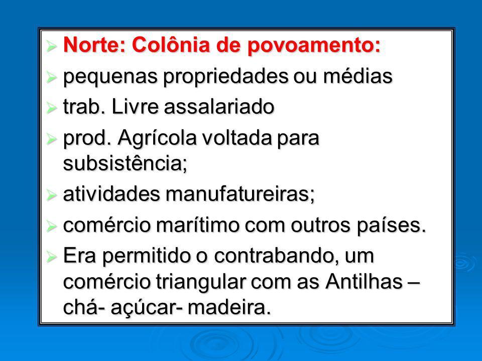 Norte: Colônia de povoamento: