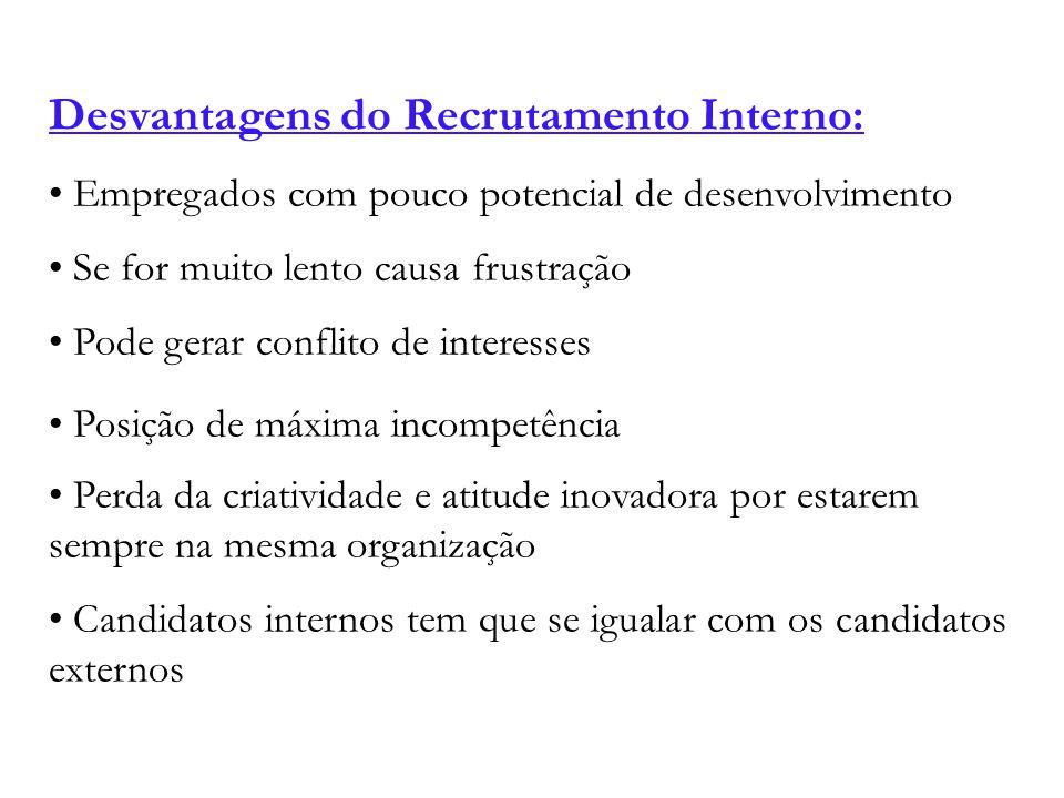 Desvantagens do Recrutamento Interno: