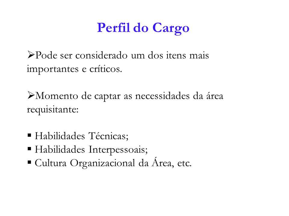 Perfil do Cargo Pode ser considerado um dos itens mais importantes e críticos. Momento de captar as necessidades da área requisitante: