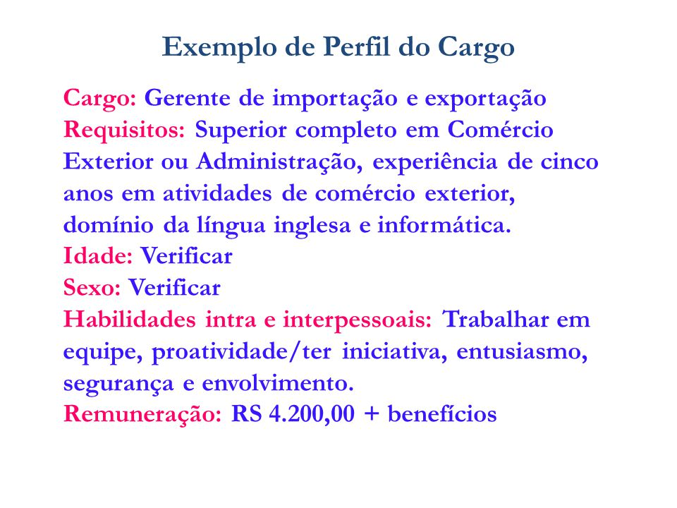 Exemplo de Perfil do Cargo