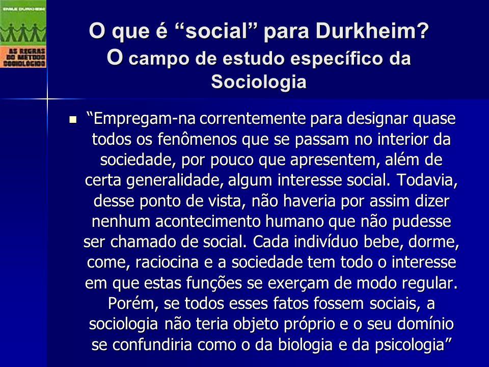 O que é social para Durkheim