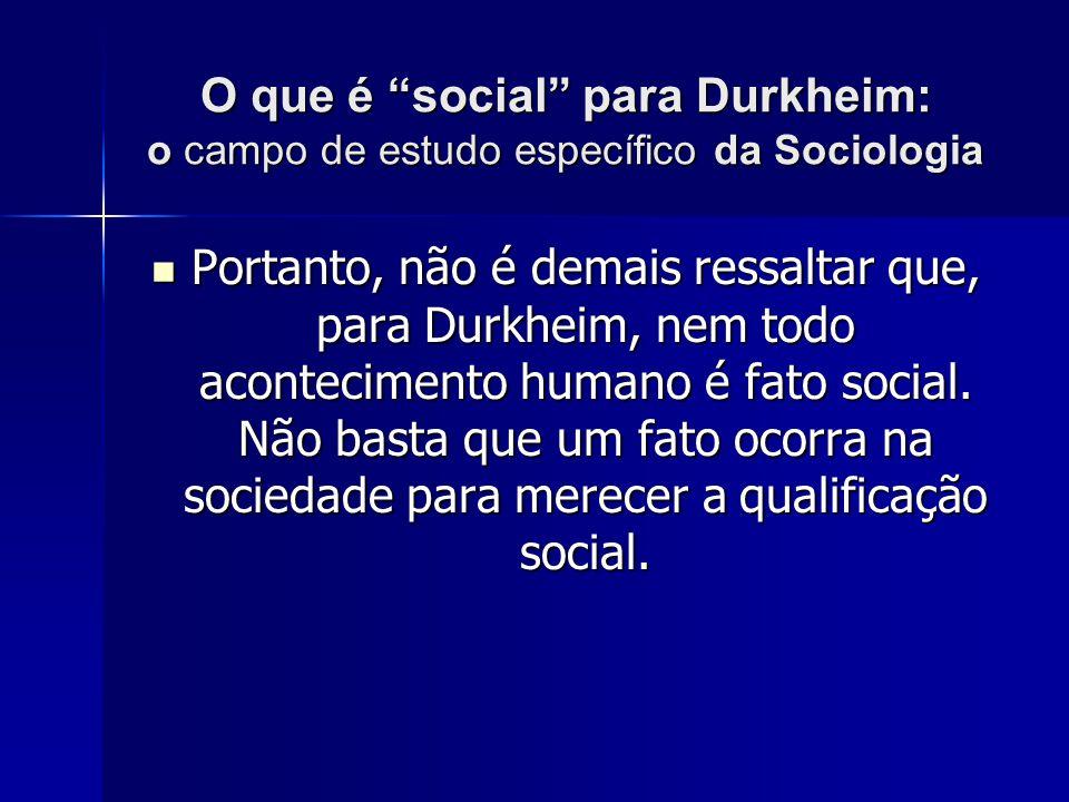 O que é social para Durkheim: o campo de estudo específico da Sociologia