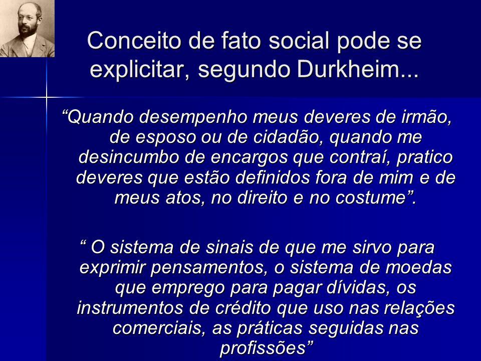 Conceito de fato social pode se explicitar, segundo Durkheim...