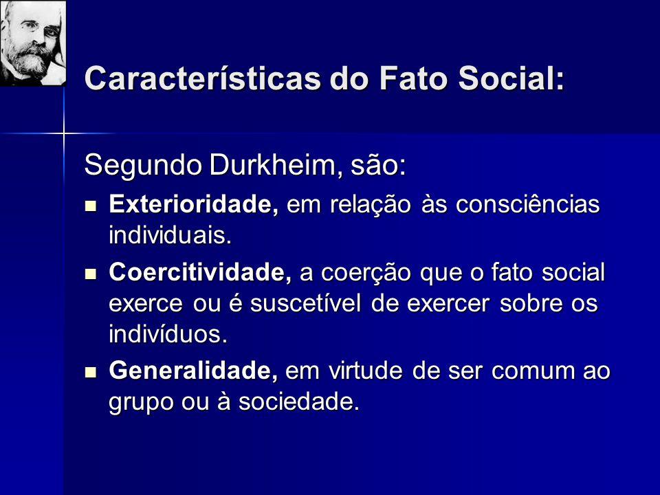 Características do Fato Social: