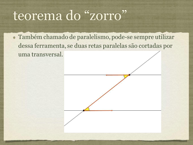 Também chamado de paralelismo, pode-se sempre utilizar dessa ferramenta, se duas retas paralelas são cortadas por uma transversal.